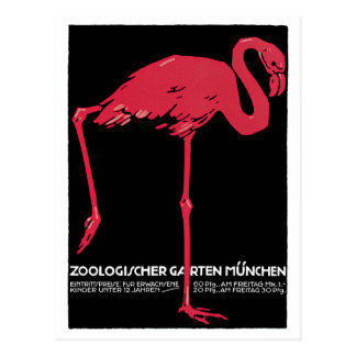 Cartão Postal Jardim zoológico cor-de-rosa de Munich do flamingo