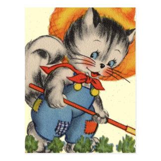 Cartão Postal Jardineiro do Kat do gatinho