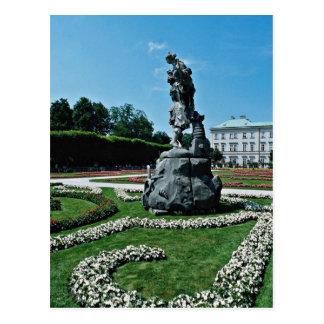 Cartão Postal Jardins de Marabell, flores de Salzburg, Áustria