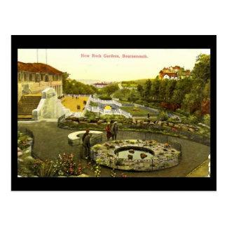 Cartão Postal Jardins de rocha novos, Bornemouth, em 1934