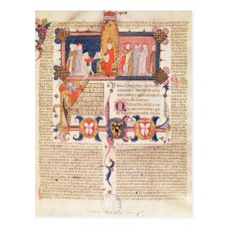 Cartão Postal Jean Andre que apresenta a seu o trabalho ao papa