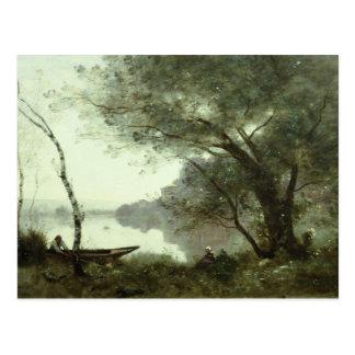 Cartão Postal Jean-Baptiste-Camilo Corot - barqueiro