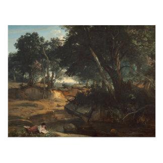 Cartão Postal Jean-Baptiste-Camilo Corot - floresta de