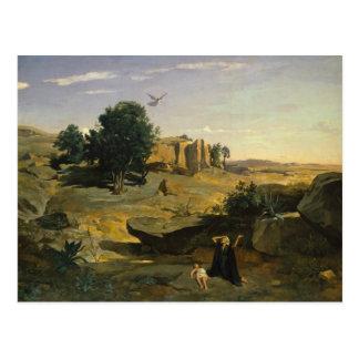 Cartão Postal Jean-Baptiste-Camilo Corot - Hagar