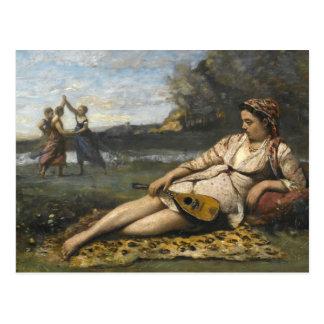Cartão Postal Jean-Baptiste-Camilo Corot - jovens mulheres de