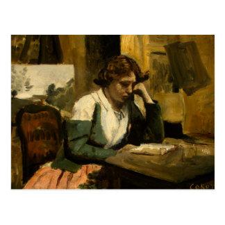 Cartão Postal Jean-Baptiste-Camilo Corot - leitura da rapariga