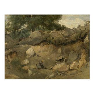 Cartão Postal Jean-Baptiste-Camilo Corot - mina de pedra