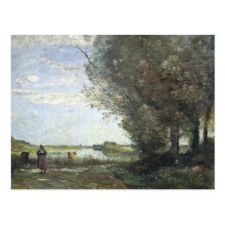Cartão Postal Jean-Baptiste-Camilo Corot - opinião do rio
