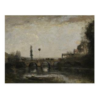 Cartão Postal Jean-Baptiste-Camilo Corot - paisagem com ponte
