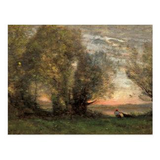 Cartão Postal Jean-Baptiste-Camilo Corot - pescador
