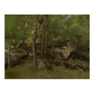 Cartão Postal Jean-Baptiste-Camilo Corot - rochas na floresta