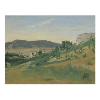 Cartão Postal Jean-Baptiste-Camilo Corot - vista de Olevano