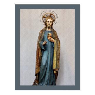 Cartão Postal Jesus que guardara o coração sagrado dourado
