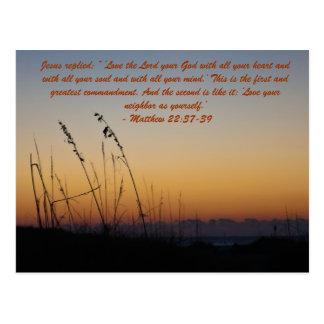 """Cartão Postal Jesus respondeu: Do"""" amor ` o senhor seu deus com"""