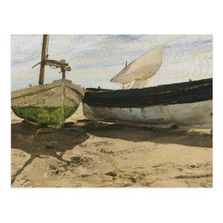 Cartão Postal Joaquin Sorolla - barcos de pesca na praia