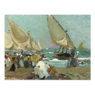 Cartão Postal Joaquin Sorolla - barcos na praia de Valência