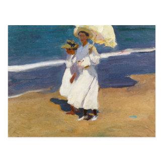 Cartão Postal Joaquin Sorolla - na praia