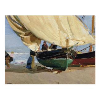 Cartão Postal Joaquin Sorolla - Pescadores. Varadas de Barcas