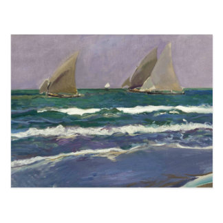Cartão Postal Joaquin Sorolla - velas do navio no mar