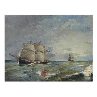 Cartão Postal Joaquin Sorolla - veleiros no mar