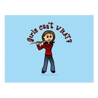 Cartão Postal Jogador de flauta fêmea claro