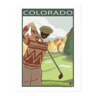 Cartão Postal Jogador de golfe SceneColorado