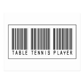 Cartão Postal Jogador de ténis de mesa do código de barras