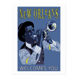 Cartão Postal Jogador de trombeta retro do jazz de Nova Orleães