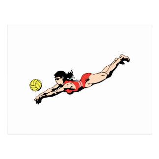 Cartão Postal jogador de voleibol fêmea do mergulho da bola da
