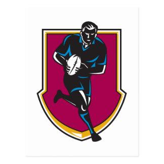 Cartão Postal jogador do rugby que funciona passando a bola