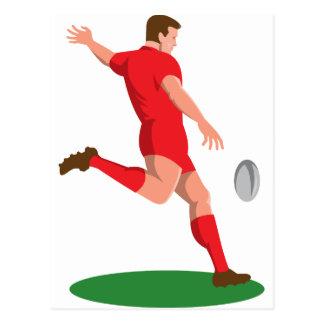 Cartão Postal jogador do rugby que retrocede a bola retro