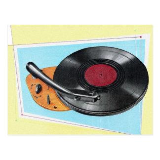 Cartão Postal Jogador gravado retro de fonógrafo do kitsch do