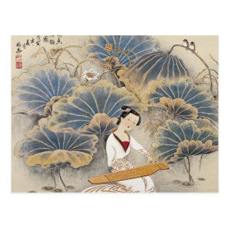 Cartão Postal Jogando a música pela lagoa de Lotus