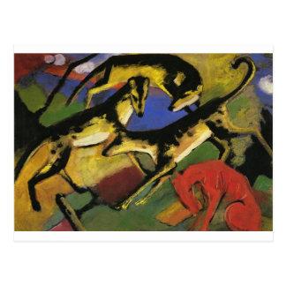 Cartão Postal Jogando cães por Franz Marc