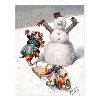Cartão Postal Jogo antropomórfico dos gatos na neve