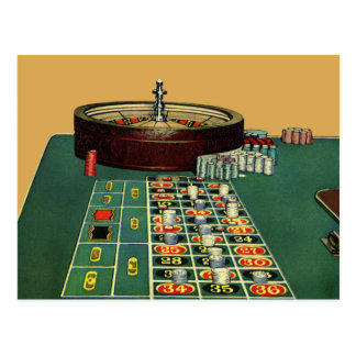 Cartão Postal Jogo do casino da mesa da roleta do vintage,