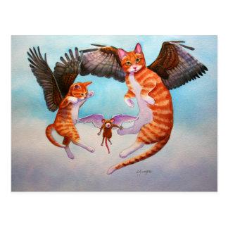 Cartão Postal Jogo do gato e do rato do anjo