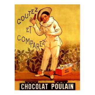 Cartão Postal Jogos de partido franceses do palhaço do chocolate
