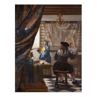 Cartão Postal Johannes Vermeer - alegoria da arte da pintura