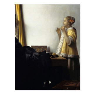 Cartão Postal Johannes Vermeer, jovem mulher com colar da pérola