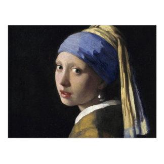Cartão Postal Johannes Vermeer - menina com um brinco da pérola
