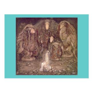 Cartão Postal John Bauer - troll com uma princesa sequestrada