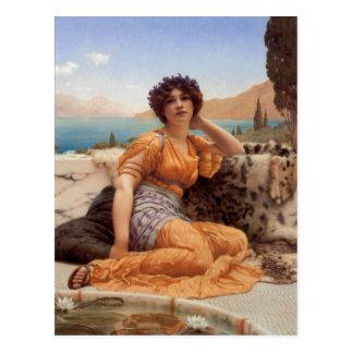 Cartão Postal John William Godward com as violetas envolvidas e
