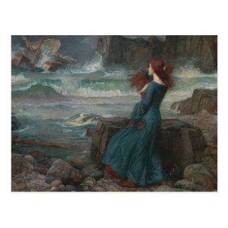 Cartão Postal John William Waterhouse - Miranda - a tempestade