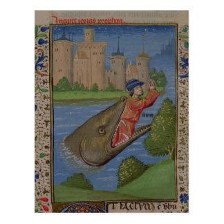 Cartão Postal Jonah e a baleia, da bíblia de Jean XXII