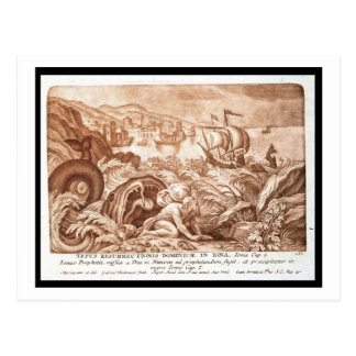 Cartão Postal Jonah e a baleia, ilustração de uma bíblia, en
