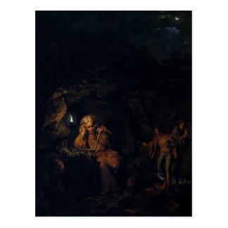 Cartão Postal Joseph Wright um filósofo pela luz da lâmpada