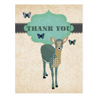 Cartão Postal Jovem corça dourada & obrigado azul das borboletas
