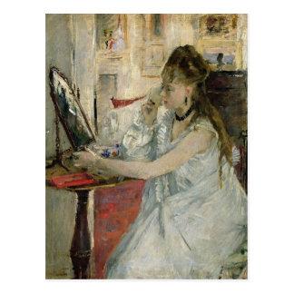 Cartão Postal Jovem mulher que pulveriza sua cara, 1877