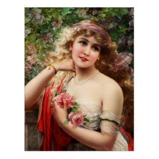 Cartão Postal Jovem senhora com rosas